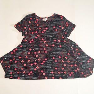 Black/red/peach LuLaRoe Valentine's Carly dress M